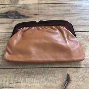 Brown leather vintage clutch